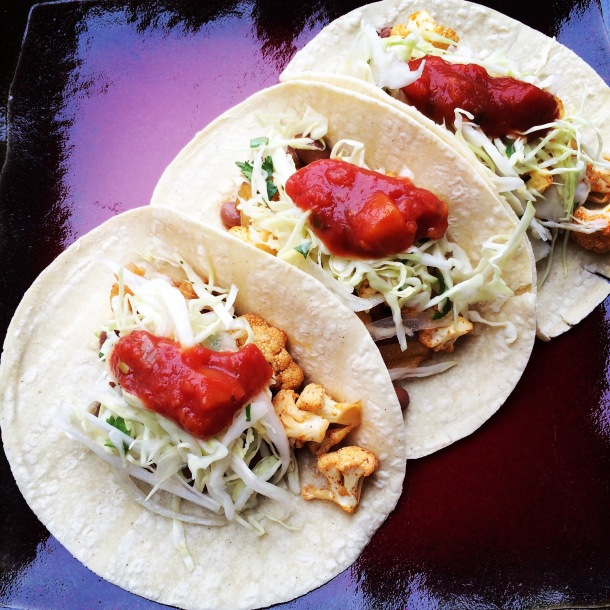 thug kitchen, vegan recipes, vegan tacos, taco recipe, cauliflower tacos