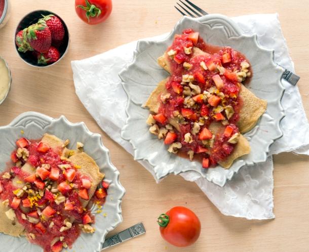 Strawberry Tomato Crepes